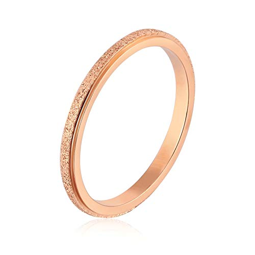Aienid Hochzeitsring Titan Ring for Damen Ring Schmale Kreismatte Vertrauensring Verlobungsring Rose Gold 49 (15.6)