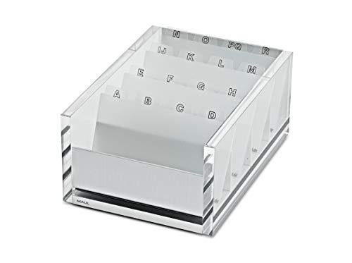 Elegante Visitenkartenbox MAULacro, Acryl, Aluminium, Für 300 Karten, 122x75x170 mm, Glasklar, 1966305, 1 Stück