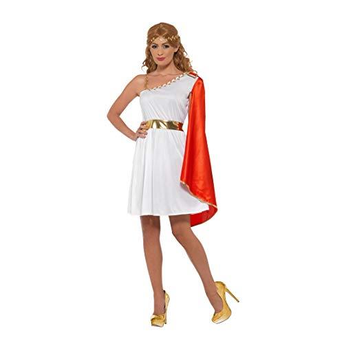 Amakando Römer-Kostüm für Damen / Weiß-Rot in Größe L (42/44) / Kleid Griechische Göttin / EIN Blickfang zu Fasching & Karneval