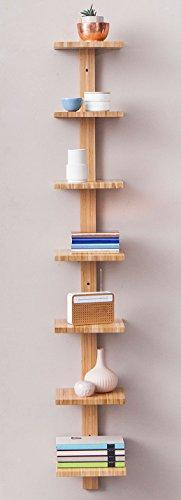 Bambus-Holz Wandregal / Rack, mit 7 Ablagen, naturfarben, B 22 x H 150 x T 20 cm