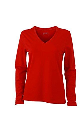 JAMES & NICHOLSON Langarm Shirts aus weichem Elastic-Single-Jersey Red