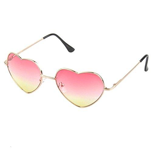 Dollger Pink Gold Heart Shaped Sonnenbrille Flieger Stil Hippie Sonnenbrille für Frauen
