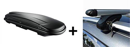 VDP Dachbox schwarz Juxt 500 großer Dachkoffer 500 Liter abschließbar + Alu-Relingträger Dachgepäckträger für Skoda Octavia Kombi ab 04