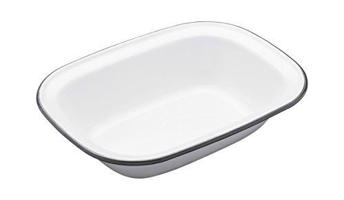 Kitchen Craft Auflaufform Living Nostalgia oval 22cm in weiß/grau, Porzellan, 22 x 16 cm (8.5 inches x 6.5 inches) Ovale Pie Pan
