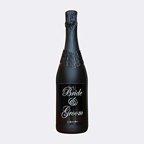 """Sektflasche Motto\""""Bride & Groom\"""" - schwarz mit schwarzem Kragen; handveredelt; gefüllt mit 0,75 l Sekt Cuvee trocken - Das ideale Geschenk, Mitbringsel oder Dankeschön!"""