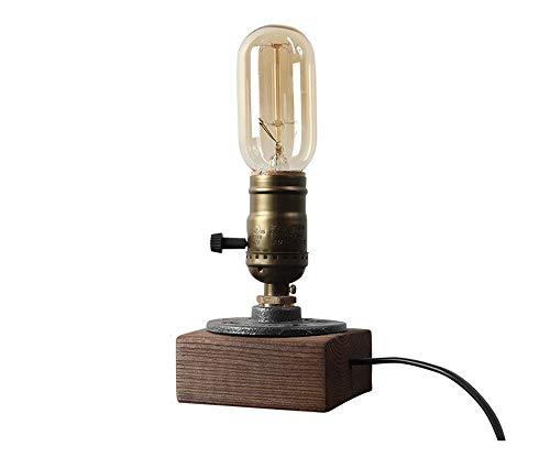 XZHU E27 Retro Tischlampen, Mini Einfache LED Massivholz Basis Eisen Beleuchtung Dekoration Kleine Leselampe Moderne Antike Schlafzimmer Nacht Plug-in Schreibtisch Licht - Antik-nacht-licht