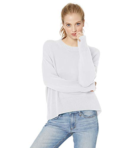 Weißes Crewneck Pullover (Daily Ritual 100% Cotton Square Crewneck Sweater Pullover, Weiß White), US S (EU S - M))