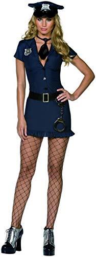 Luxuspiraten - Damen Frauen Frecher Bulle Polizistinnen Polizei Kostüm, kurzes Kleid mit Hut, Krawatte und Gürtel, perfekt für Karneval, Fasching und Fastnacht, S, Schwarz
