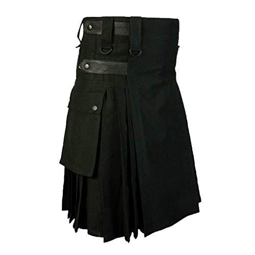 BIKETAFUWY Herren Vintage Kilt Schottland Steampunk Gothic Fashion Kendo Pocket Röcke Schottische Kleidung Kendo spezielle Herrenhose Bequeme Wrestlinghose Stretch Stoff Hose -
