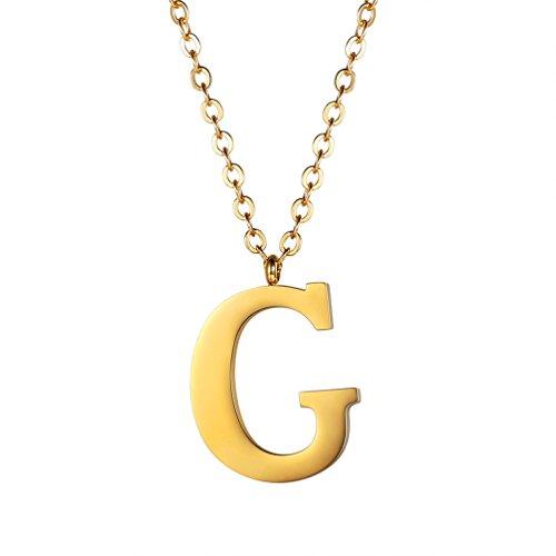 PROSTEEL Halskette Edelstahl Buchstabe G Alphabet Charme Anhänger Halskette Fashion Anfangsbuchstabe Modeschmuck mit 55cm Rolokette Gold