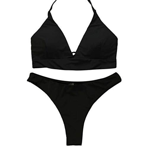 Sumeiwilly Damen Bikini Set Triangel BH Bikini Rückenfrei Bademode Push Up High Cut Einlagen Oberteil Mit Schwarz Bikinihosen Sexy Mode Frauen gepolsterte Badebekleidung Badeanzug Beachwear Set