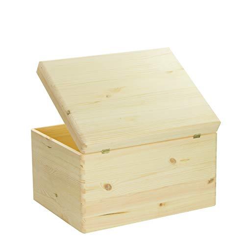 VENKON – Universal Holzkiste mit Deckel für Aufbewahrung – Kiefer naturbelassen unbehandelt, 40x30x23,5cm - 5