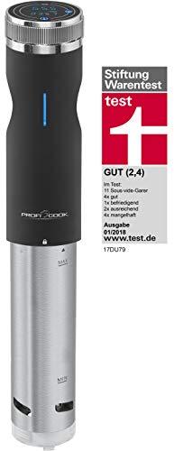 Proficook Sous Vide - Roner para cocción lenta, cocina al vacío para cocinar a bajas temperaturas, temporizador, 800 W, color gris y negro
