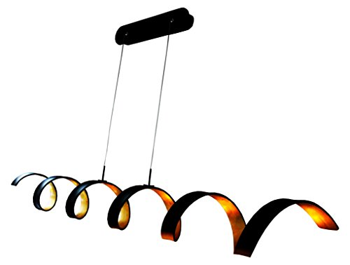 LED Pendelleuchte Blattgold Farben Eco-Light Helix 30 Watt 1800 Lumen dimmbar über den Lichtschalter