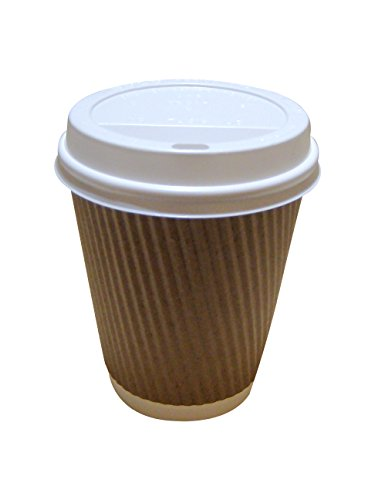 50 8oz-12oz Brown Kraft Triple Wall Paper Coffee Cups With White Sip Lids (12oz 50 Pack) 31gCYFwVtWL