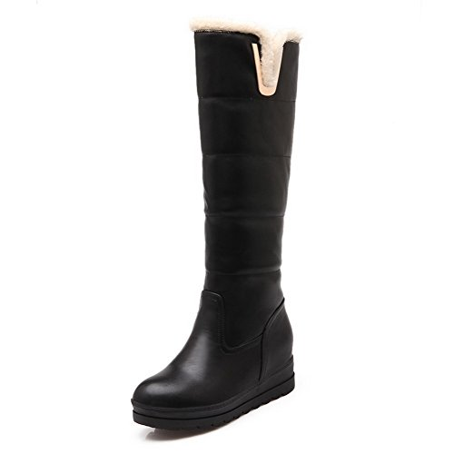 AgooLar Damen Rund Zehe Blend-Materialien Ziehen auf Hoher Absatz Stiefel, Schwarz-Metallstück, 37