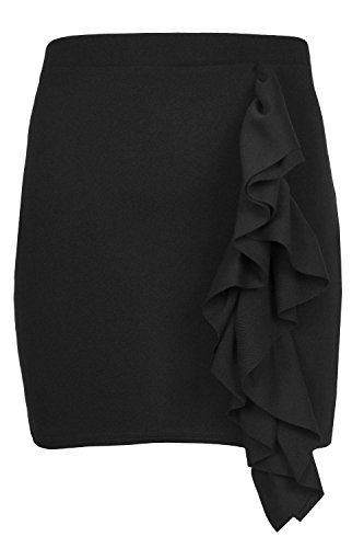 Fashion Star Oops Outlet Womens Ladies Side Peplum Ruffle Frill Hem Elasticated Waist Bodycon Mini Skirt