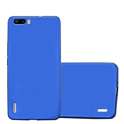 Cadorabo Hülle für Honor 6 Plus - Hülle in METALLIC BLAU – Handyhülle aus TPU Silikon im Matt Metallic Design - Silikonhülle Schutzhülle Ultra Slim Soft Back Cover Case Bumper