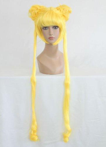 Ladieshair Cosplay Perücke gelb 100cm glatt Sailor Moon Bunny Usagi ()