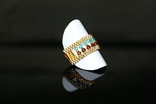 Handgewebter Ring Kaleidoskop aus japanischen Glasperlen mit SWAROVSKI Kristallen