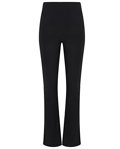 Huntadeal Womens Trousers | Ladies Bootleg Pants | High Rise Stretch Bottoms | Pull On Nurse Carer Work Bottoms | Boot Cut Pants | Elasticated Waist | Soft Finely Ribbed | Plus Big Sizes 8-26