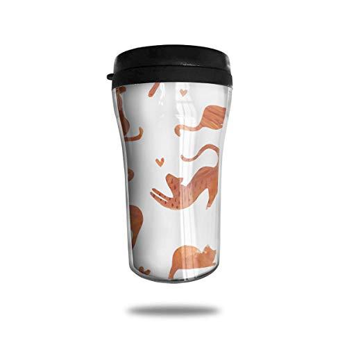 Xukmefat Orange Cat Pattern Travel Coffee Mug Delicate Printing Tragbarer Saugnapf, Nahrungsmittelgrad-ABS-Isolierschale (8,8 Unzen) -