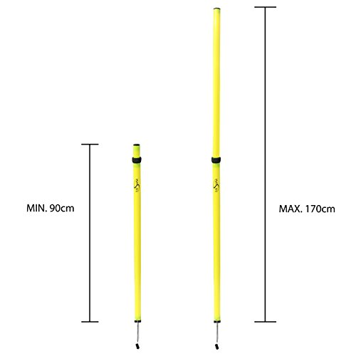 Lusum Adjustable Telescopic Slalom Pole Set of 12 With Bag - 90cm to 170cm