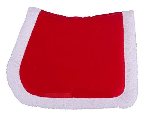 QHP Schabracke für Ihr Weihnachts-Outfit rot, weißer Plüschrand Warmblut