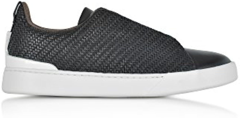 Z ZEGNA Herren A2634XPTANER Schwarz Leder Sneakers