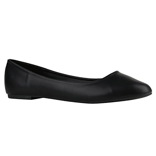 Klassische Damen Ballerinas Lederoptik Basic Freizeit Schuhe Übergrössen Schwarz Black