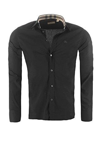 BURBERRY Herren Hemd BRIT Slim Fit, in verschiedenen Farben Outletware, Farbe:Schwarz, Größe:XXL