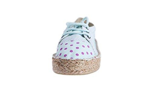 Sneaker con suola in juta 25mm Casimiro Perez linea Budva in micro-pois powder blue con pois fucsia
