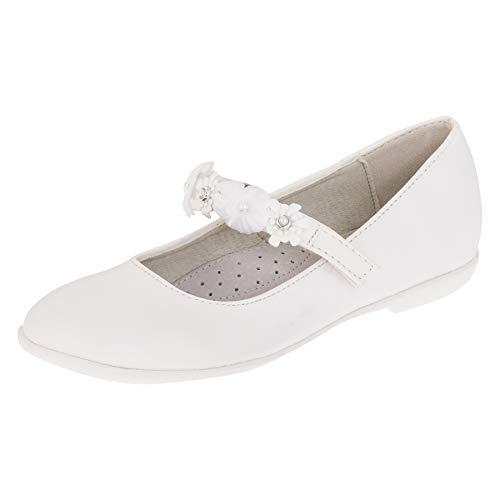 Giardino Doro Edle Festliche Kinder Mädchen Schuhe Ballerinas mit Leder Innen Sohle M516ws Weiß 37 EU (Kommunion Schuhe Mädchen)