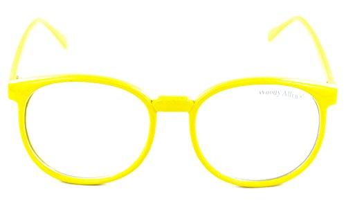 XXL Nerd-Brille Horn-Brille Streber-Brille Lese-Brille Ohne Stärke Gelb Geek Panto-Brille Party-Brille (Hippie Kostüm Chick)