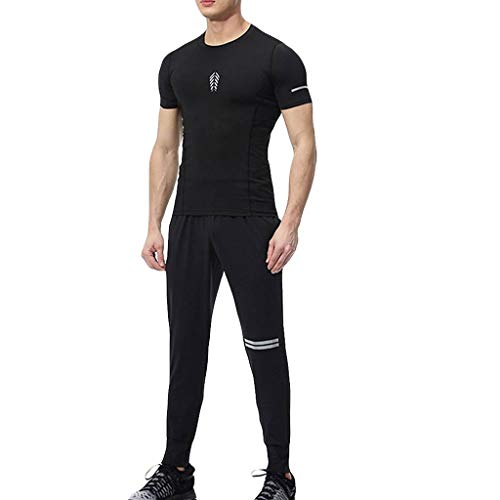 Herren Summer Tank Top Sportbekleidung Jersey und Kurz Basketball-Sport-Set Einfarbig Kompressions Longsleeves T-Shirts Dry Sportbekleidung Hosen Set