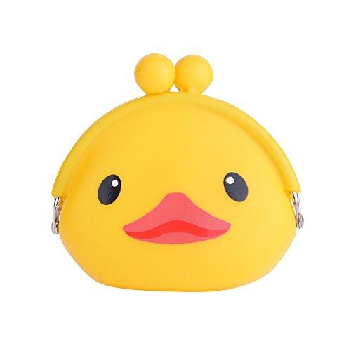 Mini niedliche Silikon Kisslock Geld Münze Geldbörse mit 5 Modelle Tier Cartoons Muster optional (Schwein / Eule / Ente / Pinguin / Hund) Runde Kunststoff Gummi Penny Cash Wallet(Entenküken) (Kiss Lock Geldbörse)