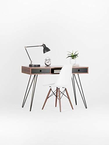 Mitte Jahrhundert Stil Nussbaum Schreibtisch schwarz Schubladen mit Haarnadel Beine -