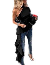 476f4dd1f2 Fashion - Chemisier - Uni - Col Chemise Classique - Manches Longues - Femme