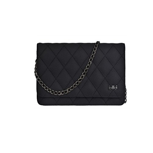 Damen Clutch in Schwarz von IKKI mit Stahl Kettenriemen (Italienische Handtasche Design Akzent)