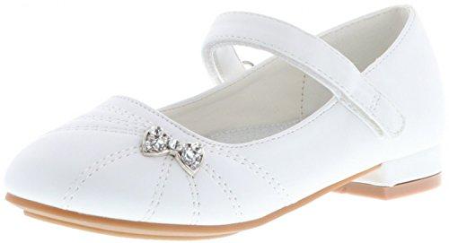 ConWay Mädchen Ballerinas Kommunion Konfirmation Lackoptik Weiß, Farbe:Weiß, Größe:28