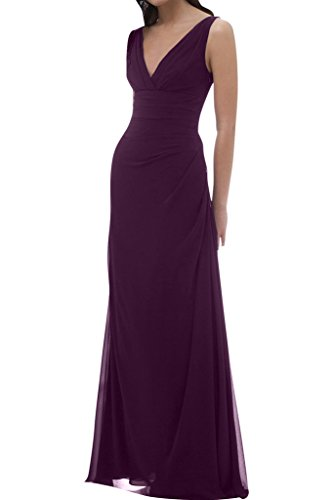 Gorgeous Bride Modisch V-Ausschnitt Traeger Empire Chiffon Lang Abendkleider Abendmode Ballkleider Grape