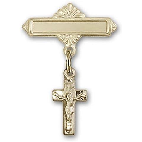 Icecarats Diseñador De Joyas De Oro Encanto Crucifijo Lleno Pin Insignia 1 X 5/8