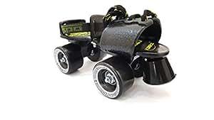 Jaspo Tenacity Adjustable Senior Roller Skates Suitable for Age Group 6 to 14 Years (Black)