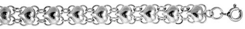 Revoni Sterling Silver Charm Anklet w/ Polished Hearts