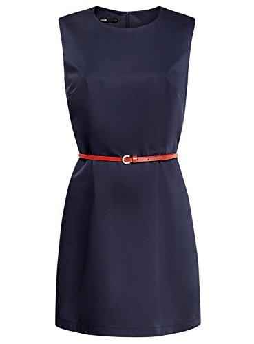 oodji Ultra Damen Tailliertes Baumwoll-Kleid Blau (7900N)