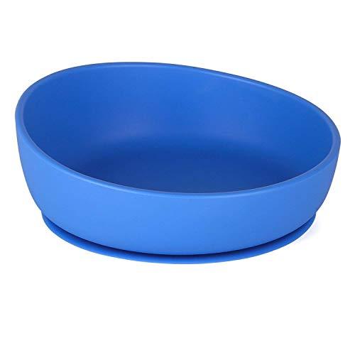 Cuenco para niños con ventosa de silicona para niños y hasta 6 meses de entrenamiento de bebé, a prueba de derrames, aperitivos y almacenamiento, sin BPA, regalo de ducha para niños azul azul