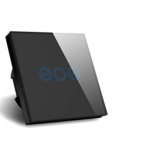 Wasserdichte schwarze Kristallglas Touch Timer Wandschalter AC110-240V Light Time Delay Switch