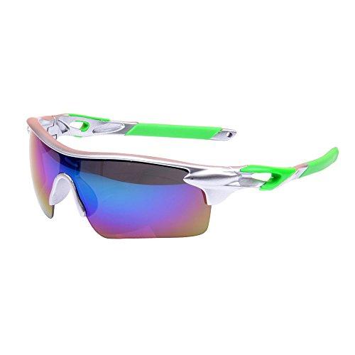 Eizur Unisex Sonnenbrille Radfahren Schutzbrille UV-Schutz Fahrradbrille Verspiegelte Skibrille Sportbrille Laufen Brillen Sport-Schutz Augenschutzbrillen für Außen Skilaufen Fahrräder Laufen 9 Arten Optional (Grün Skibrille Damen)