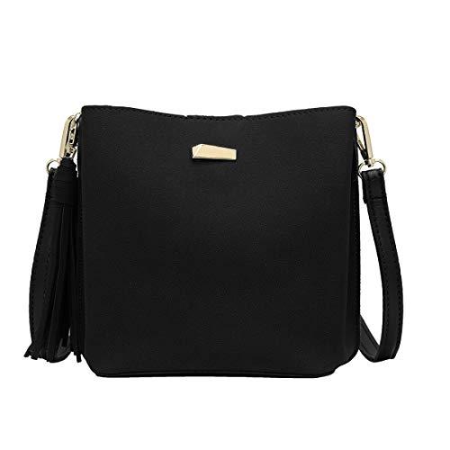 CRAZYCHIC - Damen Kleine Umhängetasche Handtasche - Beuteltasche Schultertasche Wildleder PU - Hobo Bucket Bag - Franse Quaste Abendtasche - Mode Elegant - Schwarz -