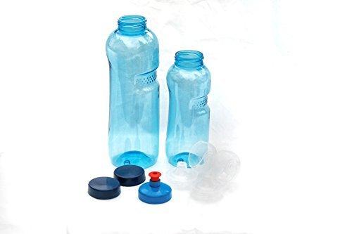 2x Original Trinkflaschen aus TRITAN ohne Weichmacher im Sparset: 1x 1 Liter (rund), 1x 0,5 Liter (rund) + 2 Standartdeckel + 2 Sportdeckel (FlipTop) + 1 Trinkdeckel (Push PULL)  BPA frei
